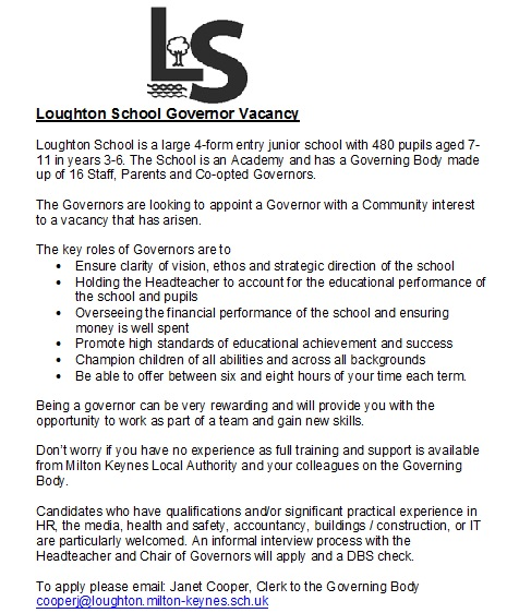 Loughton School Governor Vacancy Poster