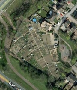 An aerial view of Loughton Parish Council allotments in Milton Keynes
