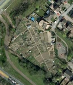 An aerial view of Loughton Parish Council allotments in Milton Keynes